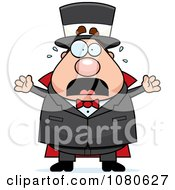 Clipart Chubby Magician Freaking Out Royalty Free Vector Illustration