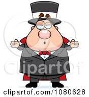 Clipart Chubby Magician Shrugging Royalty Free Vector Illustration