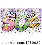 Clipart Happy 50 Percent Off Over Purple With Confetti Royalty Free Vector Illustration