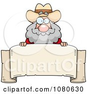 Clipart Chubby Miner Prospector Over A Parchment Banner Royalty Free Vector Illustration