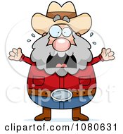 Clipart Chubby Miner Prospector Freaking Out Royalty Free Vector Illustration