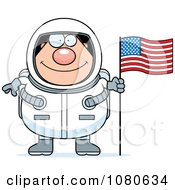 Clipart Chubby Astronaut With An American Flag Royalty Free Vector Illustration