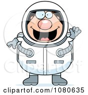 Clipart Chubby Astronaut Waving Royalty Free Vector Illustration by Cory Thoman