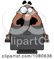 Clipart Chubby Black Businessman Boss Using A Computer Royalty Free Vector Illustration by Cory Thoman