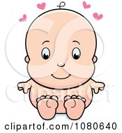 Clipart Cute Baby Sitting Naked Royalty Free Vector Illustration by Cory Thoman
