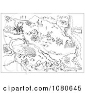 Clipart Sketched Fantasy Land Map Royalty Free Vector Illustration by patrimonio
