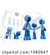 Clipart 3d Blue Family And Pets Standing In Front Of Their Home Royalty Free CGI Illustration