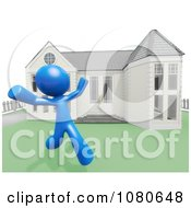 Clipart 3d Blue Man Runnning In His Yard Royalty Free CGI Illustration