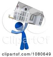 Clipart 3d Blue Man Holding Up A House Royalty Free CGI Illustration
