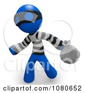 Clipart 3d Blue Man Bank Robber Carring A Bag Royalty Free CGI Illustration