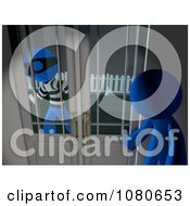 Clipart 3d Blue Man Watching A Robber From Inside His House Royalty Free CGI Illustration