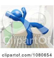 Clipart 3d Blue Man Falling Backwards On A Slippery Deck Royalty Free CGI Illustration