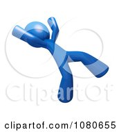Clipart 3d Blue Man Falling Backwards Royalty Free CGI Illustration by Leo Blanchette