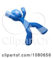 Clipart 3d Blue Man Slipping Backwards Royalty Free CGI Illustration by Leo Blanchette