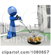 Clipart 3d Blue Man Cleaning Pavement In His Driveway Royalty Free CGI Illustration