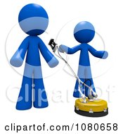 3d Blue Men Using A Concrete Cleaner Machine