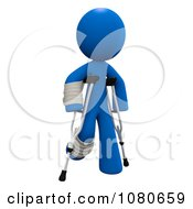 3d Blue Man Walking With Crutches
