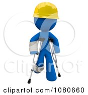 Clipart 3d Blue Construction Man Walking On Crutches Royalty Free CGI Illustration