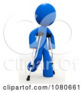 Clipart 3d Blue Man Walking On Crutches Royalty Free CGI Illustration