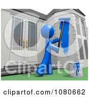 Clipart 3d Blue Man Painting His House Royalty Free CGI Illustration by Leo Blanchette