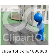Clipart 3d Blue Man Staring At His Dirty Driveway Royalty Free CGI Illustration