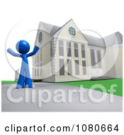 Clipart 3d Blue Man Standing In A Home Driveway Royalty Free CGI Illustration