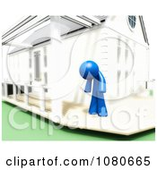 Clipart 3d Hot Blue Person Standing On A Deck Royalty Free CGI Illustration