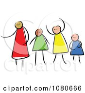 Clipart Diverse Stick People Family 1 Royalty Free Vector Illustration