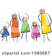 Clipart Diverse Stick People Family 2 Royalty Free Vector Illustration