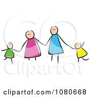 Clipart Stick People Family Holding Hands 1 Royalty Free Vector Illustration