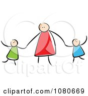 Clipart Stick People Mother Holding Hands With Her Children Royalty Free Vector Illustration