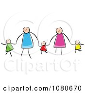 Clipart Stick People Family Holding Hands 2 Royalty Free Vector Illustration