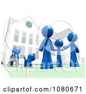 Clipart 3d Blue Family And Pets Standing In Front Of Their House Royalty Free CGI Illustration