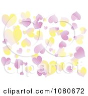 Clipart Gradient Pink And Yellow Heart Background Over White Royalty Free Vector Illustration