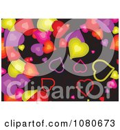 Clipart Colorful Heart Background Over Black Royalty Free Vector Illustration