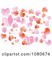 Clipart Gradient Pink And Red Heart Background Over White Royalty Free Vector Illustration