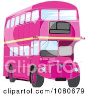 Clipart Pink Double Decker Bus Royalty Free Vector Illustration