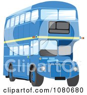 Clipart Blue Double Decker Bus Royalty Free Vector Illustration