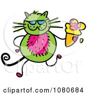 Clipart Doodled Green Cat Holding An Ice Cream Cone Royalty Free Vector Illustration by Prawny