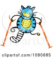 Clipart Doodled Blue Cat Using Crutches Royalty Free Vector Illustration by Prawny