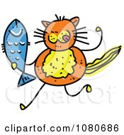 Clipart Doodled Orange Cat Holding A Fish Royalty Free Vector Illustration