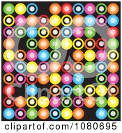 Clipart Colorful Retro Circle Background Over Black 1 Royalty Free Vector Illustration