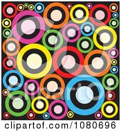 Clipart Colorful Retro Circle Background Over Black 2 Royalty Free Vector Illustration