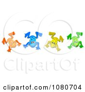 Clipart Four Colorful Frogs Royalty Free Illustration by Prawny