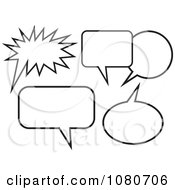 Clipart Black And White Chat Balloons Royalty Free Vector Illustration by Prawny