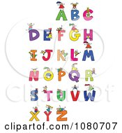 Clipart Doodled Stick Kids Playing On Letters 1 Royalty Free Vector Illustration