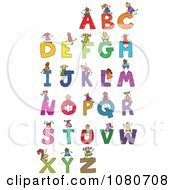 Clipart Doodled Stick Kids Playing On Letters 2 Royalty Free Vector Illustration
