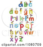 Clipart Doodled Stick Kids Playing On Letters 3 Royalty Free Vector Illustration
