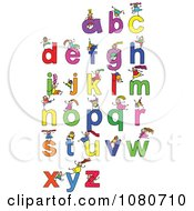 Clipart Doodled Stick Kids Playing On Letters 4 Royalty Free Vector Illustration