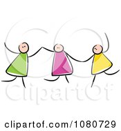Clipart Stick Kids Holding Hands And Playing Royalty Free Vector Illustration by Prawny